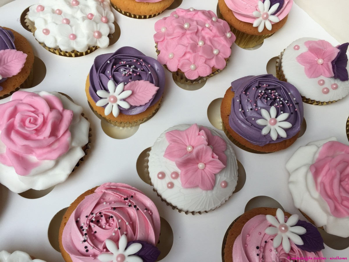 Cupcakes - Cupcakes in wit roze paars